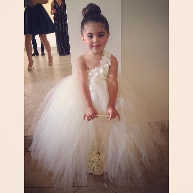 Top Selling New / Tulle Backless   Flower     Girl     Dresses   For One-Shoulder Sleeveless Little   Girls   Pageant   Dress   Special Occasion ok4