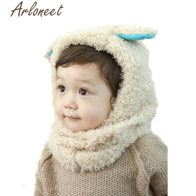 Arloneet зимняя детская одежда для девочек Обувь для мальчиков теплые шерстяные капюшон шарф S Шапки Newborn Props корзина JAN8