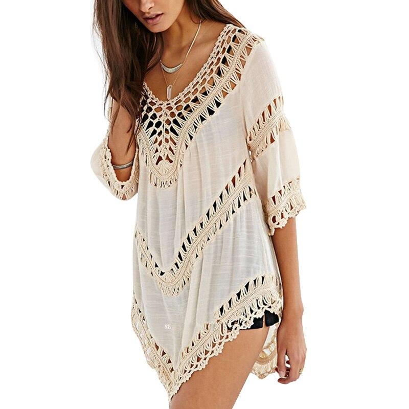 MOSHU Sexy Sommer Strand Kleid Frauen White Lace Leinen Kausalen ...