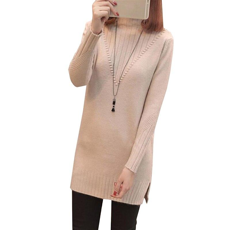 2018 automne hiver pull femmes Long demi col roulé pull en tricot chandails grande taille lâche haut pour femme bas chemise pull