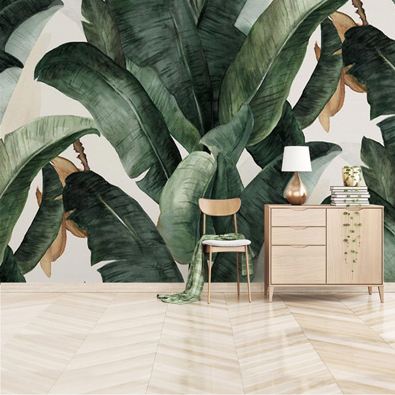 Custom Mural Wallpaper 3D Tropical Plant Green Leaves Wall Painting Living Room Study Dining Room INS Background Wall Papers 3 D