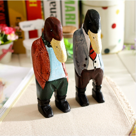 Creative Nordic Style Dekor Wood carved decoration duck man Office Desk Decor Bar Entrance Hall ornaments wedding wooden gifts