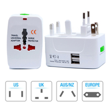 цена на All In One Universal International Plug Adapter 2 USB Port World Travel AC Power Charger Adaptor With AU US UK EU Converter Plug