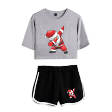95fae408e4eb92 LUCKYFRIDAYF 2018 Christmas Fashion Summer Santa Claus Pop Print Shorts And  Tee Women Two Piece Sets