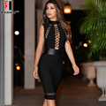 New Winter Women's Sexy Party Dress Black O Neck Sleeveless Hollow Out Chic Sexy Night Club Bandage Dress Empire Vestidos Women