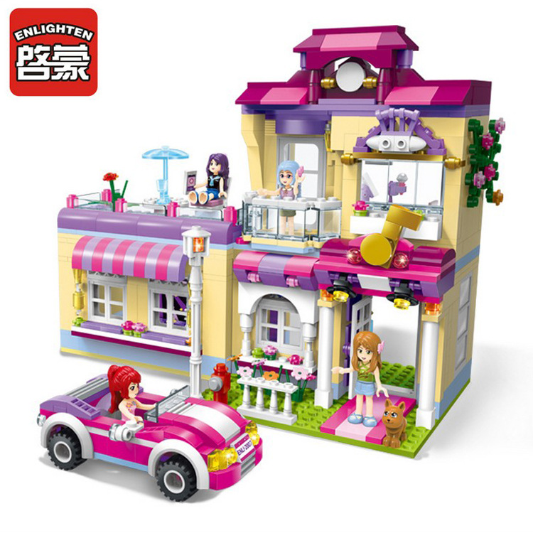 2007 ENLIGHTEN Girls Friends Super Star Training Center Model Building Blocks Action Figure Toys For Children Compatible Legoe enlighten building blocks military cruiser model building blocks girls