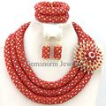 Fabulous Coral Red Nigerian Wedding Jewelry Set Costume African Beads Jewelry Sets Hot 2017 Free Shipping WB548
