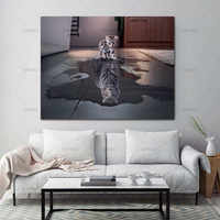 Pictures painting poster canvas Wall Art Painting Decor 1 Panel Decorations Modern Canvas Prints Artwork Cat and Tiger Painting