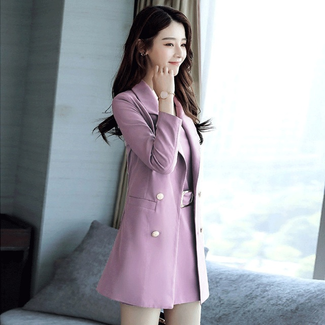 Autumn Business Suit Elegant Office Dress Lady Work 2 Pieces Set Long Sleeve Blazer and Sleeveless Dress Suit Set 3