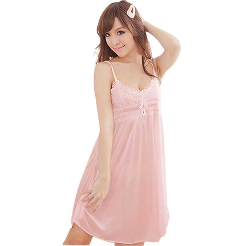 9285dd2eee Detail Feedback Questions about Women Sexy Lace Suspender Nightwear  Sleepwear Robes Imitation Silk Night Dress on Aliexpress.com
