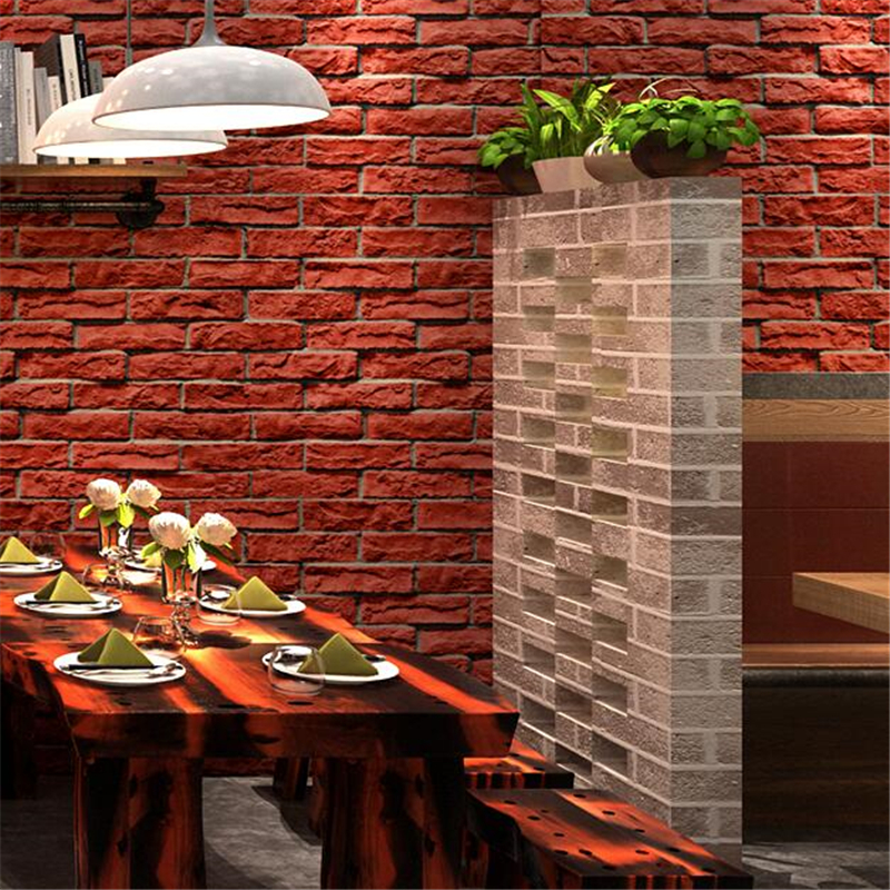 2019 Nieuwste Ontwerp Beibehang Retro Nostalgische Stereo Imitatie Baksteen Patroon Baksteen Wallpapers Cafe Bar Restaurant Cultuur Steen Rode Baksteen Behang