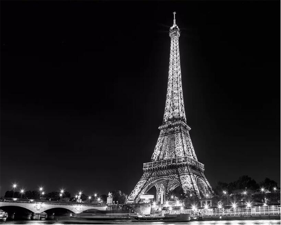 Beibehang Wallpaper 3d On The Wall Simple European And American Black And White Paris Tower Landscape Painting Baby Wallpapers Wallpapers Aliexpress