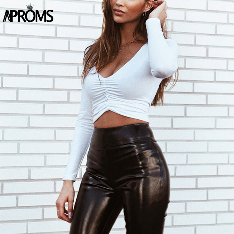 HTB1JjufAb1YBuNjSszhq6AUsFXa8 - Aproms Sexy Long Sleeve Ruched White T-shirt Women V Neck Stretch Basic Crop Top 90s Girls  Slim Cropped T Shirt Female Tee Tops