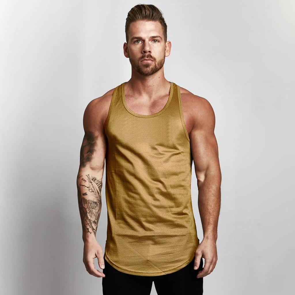 2018 New Mesh Breathable Bodybuilding Sport Fitness   Tank     Tops   Sexy Men's Fashion Tees Tight Undershirts Corset Gay Male Cloth