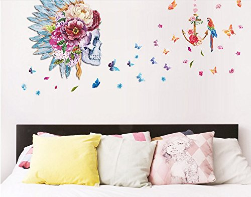 Creative Floral Skull And Flying Butterflies Peel Stick