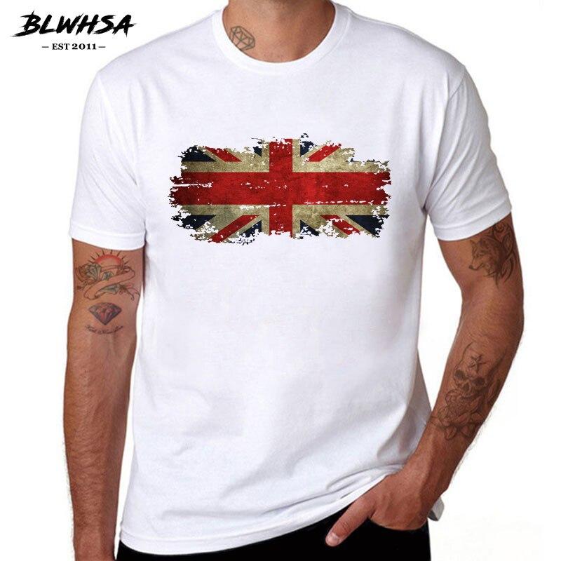 BLWHSA United Kingdom Flag T Shirt Men  Casual Short Sleeve Cotton Printing T-shirts Street Hip Hop UK Flag Cool Tees