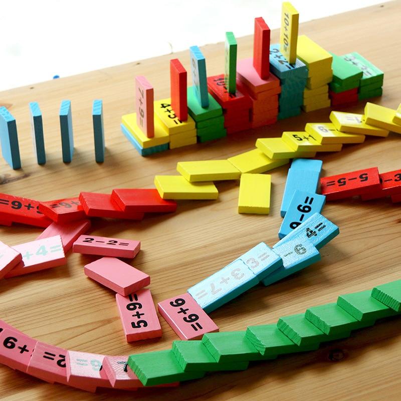 Bébé maths jouet blocs en bois jouet éducatif en bois maths jouets pour enfants Domino 3-4-5-6-7-8 ans jeu cadeaux drôles enfants - 4