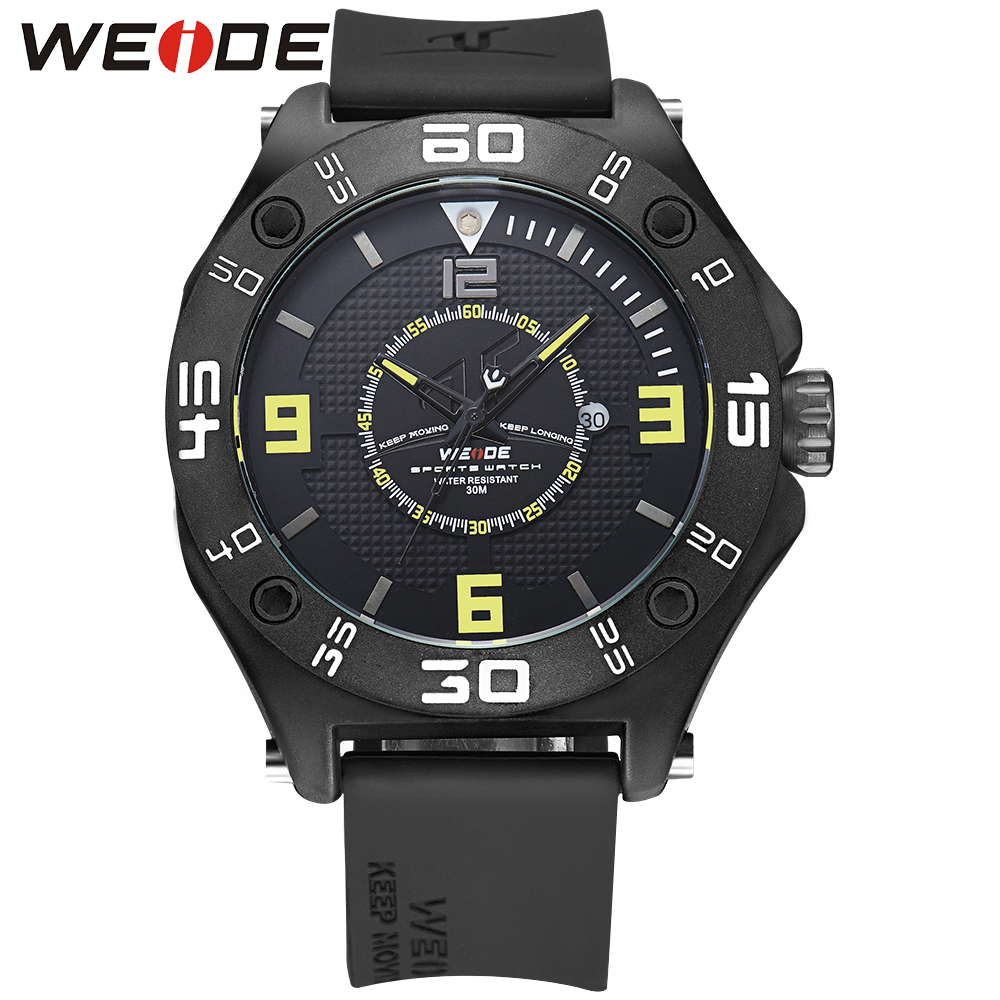 WEIDE Military Sport Watch Men Quartz Watch Waterproof Black Adaptive Silicone Strap Buckle Date Calendar Yellow Hardlex Relogio weide men watches clock analog quartz movement calendar date black leather strap band buckle hardlex wristwatches for sport