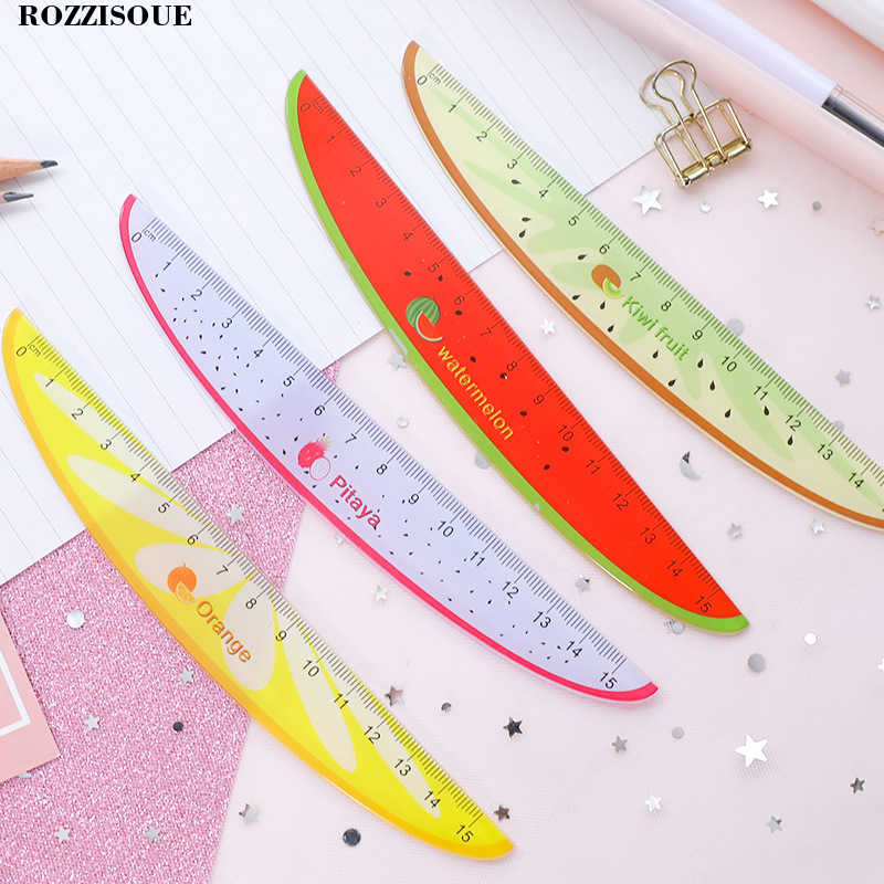 4pc Stylish Korea Kawaii Fruit Stationery Carving Plastic Ruler 15 Cm Regla Sewing Ruler Office School Supplies Drawing Patterns