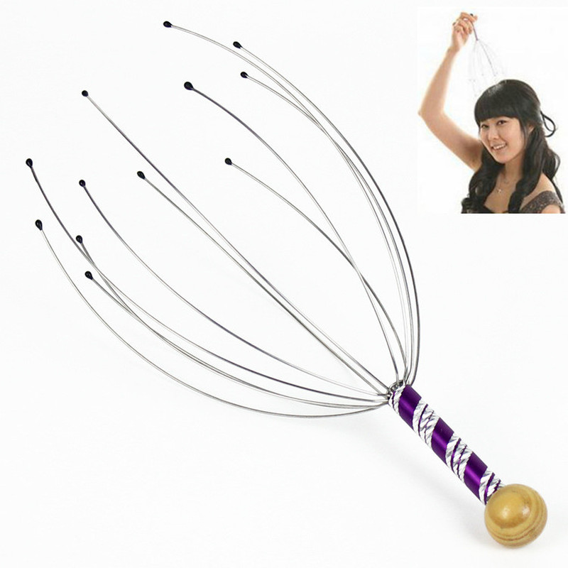 1Pcs Hot Sale Head Massager Neck Massage Octopus Scalp Stress Relax Spa Healing Alloy Wholesale