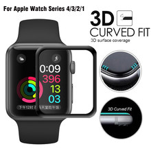 JANSIN 3D Full Cover Tempered Glass For Apple Watch 40mm 44mm Series 4 Screen Protector For Apple Watch 38mm 42mm Series 1 2 3(China)
