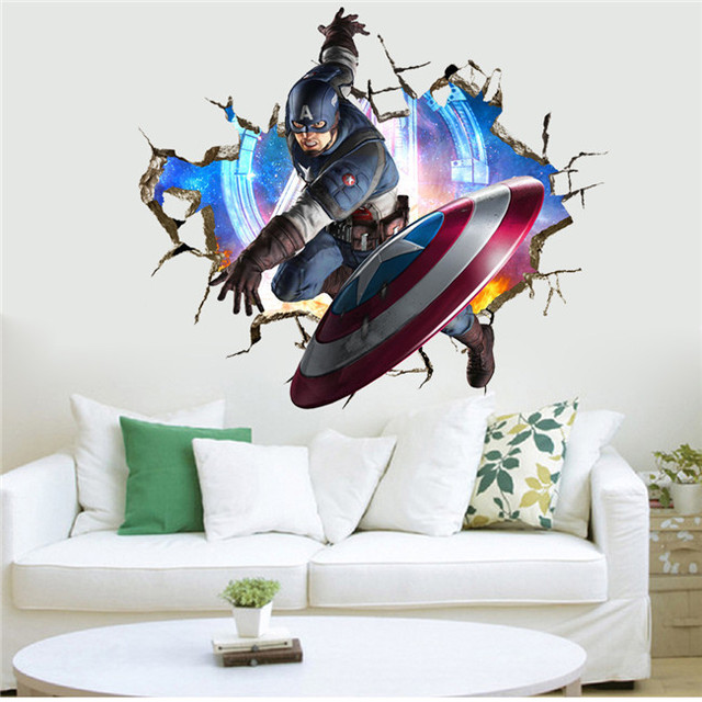 3d cracked wall super hero captain america shield throw decal