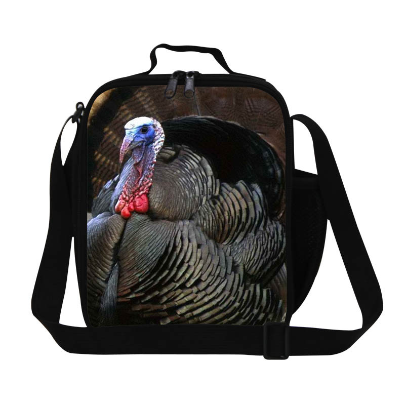 Personalized turkey Print kids insulated lunch bags stylish thermal lunch box for adult children boys lunch