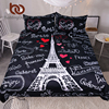 BeddingOutlet France Paris Tower Bedding Set Black And White Bed Set Romantic Letters Heart Print Quilt