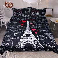 BeddingOutlet France Paris Tower Bedding Set Black And White Bed Set Romantic Letters Heart Print Quilt