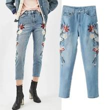 PureBliss women flower floral print embroidered mom denim pant embroidery jeans flower embroider vaqueros mujer femme 2017