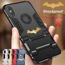 JAMULAR 360 Tam Koruma Standı iphone kılıfları 8 7 XS MAX XR X 6 6 s, Anti Vuruş Telefon Kapak Için iPhone 7 Batman Zırh Fundas