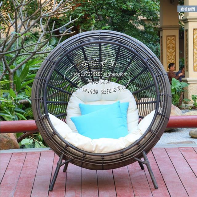 Salon de jardin ronde en rotin panier chaise paresseux canapé couché ...