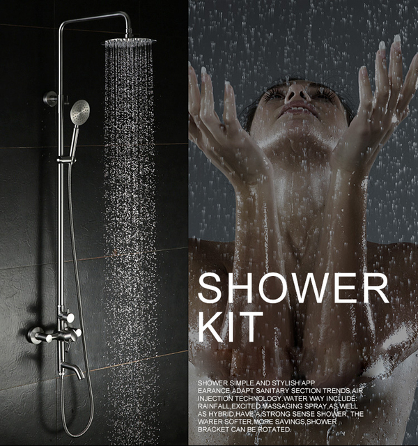 """Bathroom Shower Set Stainless Steel Brass Chrome 8"""" Wall Mounted Shower Faucet with Shower Head Water Saving Nozzle Aerator"""