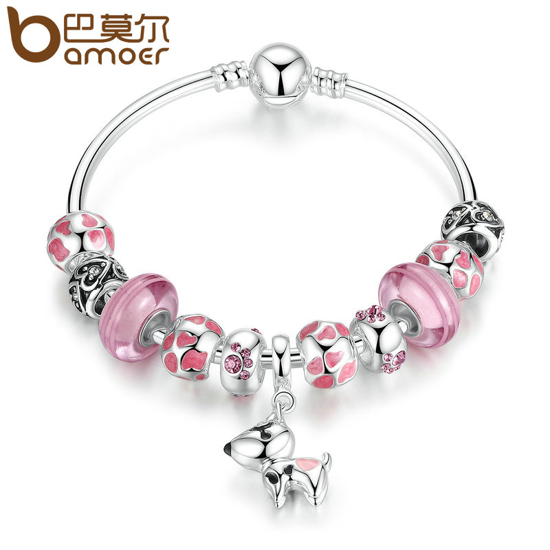 BAMOER New Arrival Silver Color Lovely Dog Pendant Pink European Glass Beads Charm Bracelets & Bangles Jewelry PA3810