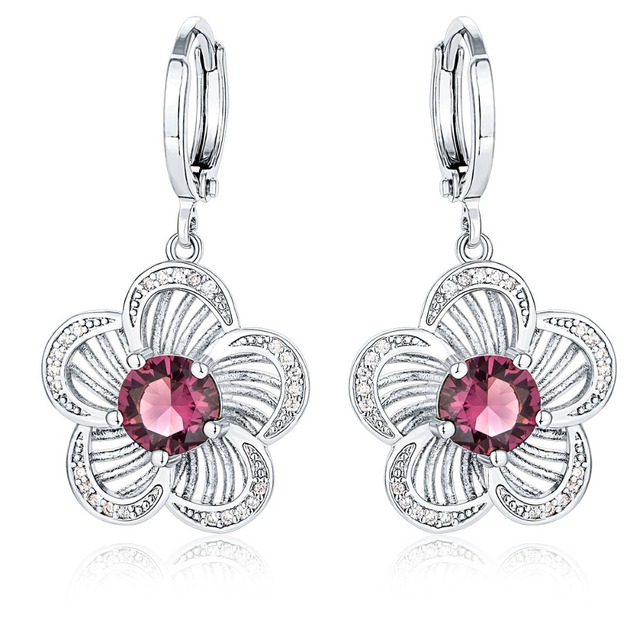 Brzha Brand Rose Earrings Ladies Jewelry Valentine S Day Gift Silver
