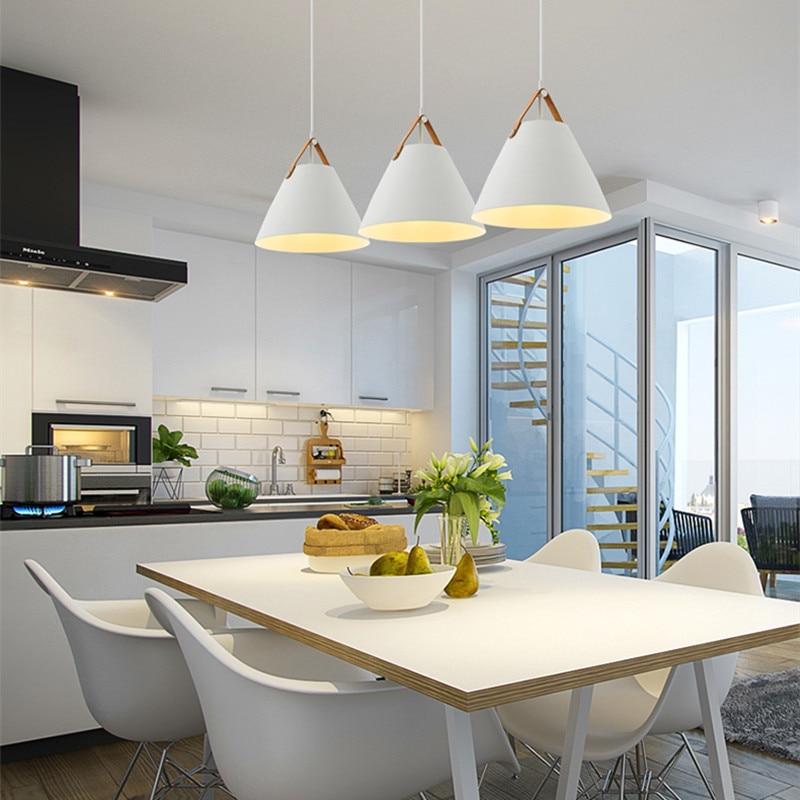 White Pendant Lights Kitchen Island Light Room Bar Modern Pendant Lighting Study Bedroom Home Pendant Ceiling Lamp Include Bulb
