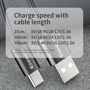 Essager 3A USB Type C Cable Fast Charging For Samsung S10 S9 USB-C Fast Charge For Xiaomi mi9 Type-C Quick Charge 3.0 Data Cable