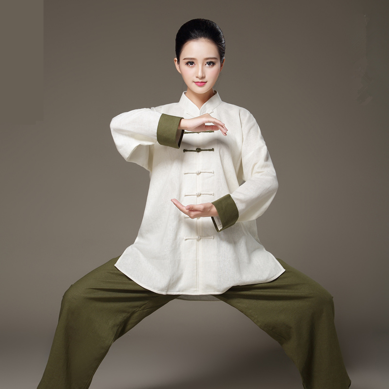 цена Unique Design Long Sleeve Linen Bi-color Taiji Clothing Tang Suit Kung Fu Uniform Martial Arts Tai Chi Suits Wushu Garment онлайн в 2017 году