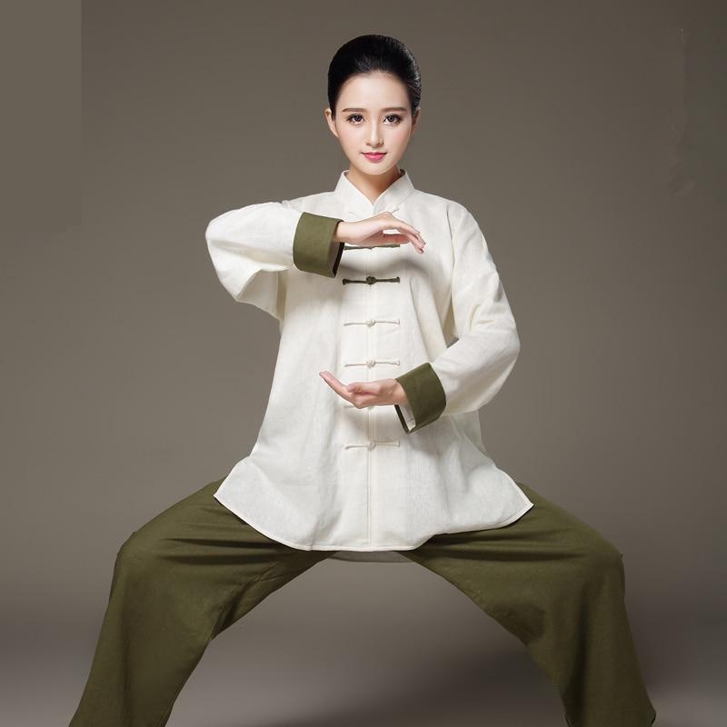 Unique Design Long Sleeve Linen Bi-color Taiji Clothing Tang Suit Kung Fu Uniform Martial Arts Tai Chi Suits Wushu Garment