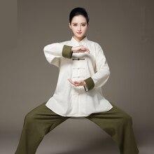 Уникальный дизайн, длинный рукав, льняная, двухцветная одежда Taiji, костюм танга, униформа кунг-фу, единоборства, Тай-Чи, костюм для занятий ушу