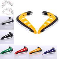 7/8 22mm Motorcycle Handguards Handlebar Brush Hand Guards With LED Turn Signals Light For Scooter ATV Dirt Bike Motocross