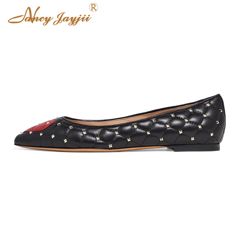 Famous Brand Cute Heart Studded Flats Pointed Toe Black ...