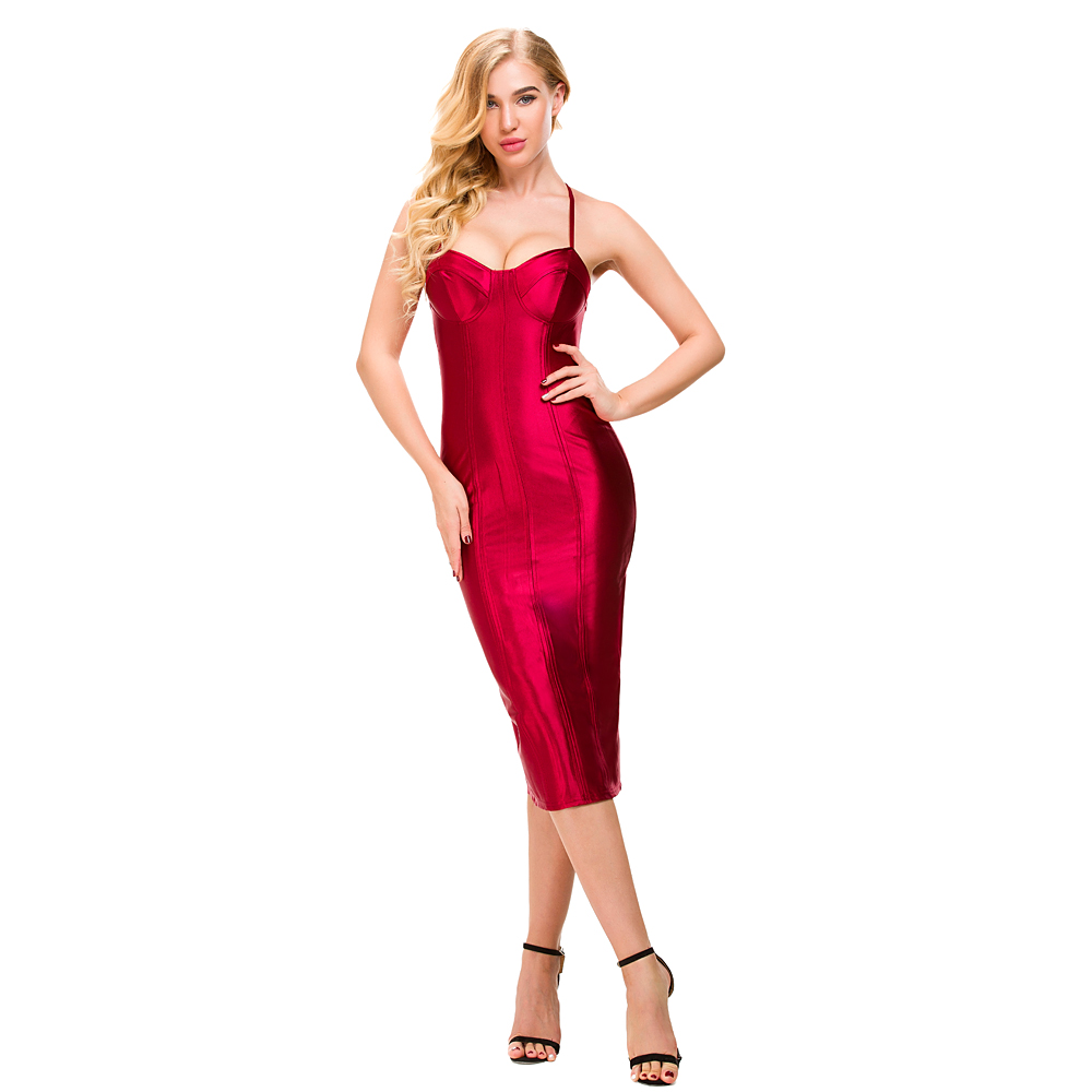 Sexy Spaghetti Straps Bodycon Red Party Dress Open Back Satin Gold Black Tight Package Hips Sleeveless Split Midi Dress
