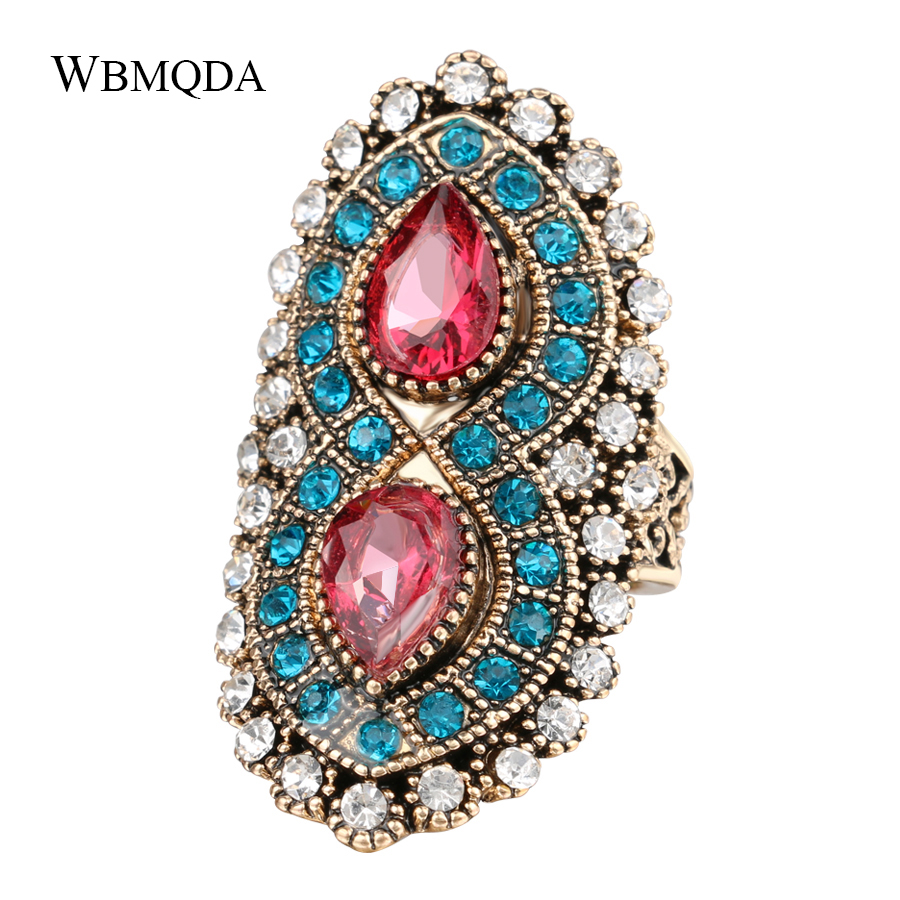 Bohemian Jewelry Vintage Big Pink Stone Ring Ethnic Antique Gold Mosaic Blue Crystal Rings For Women Accessories