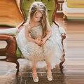 Новый Платье daminha 2017 Sparkly Бисера Бальное платье Цветок Девочки Платья Принцесса Без Бретелек Рукавов Цветы Pageant Платья Девушки