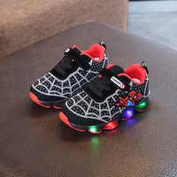 Cartoon Spiderman enfants garçons sport baskets enfants rougeoyant enfants Chaussure Chaussure Enfant filles Chaussure avec lumière LED