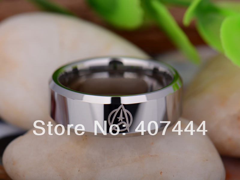 free shipping usa uk canada russia brazil hot sales 8mm shiny silver beveled star trek new mens tungsten carbide wedding ring - Star Trek Wedding Ring