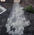 2017 Hot Sale Uma camada de Casamento Nupcial Véu Acessórios Do Casamento Vermelho Acessórios de Noiva Marfim Com Apliques Baratos