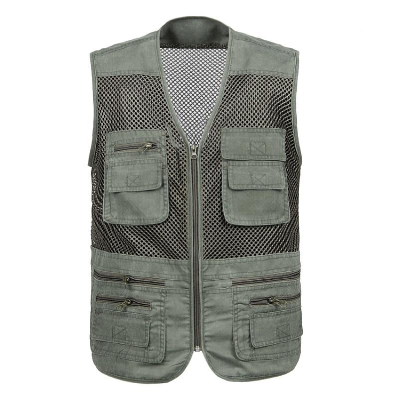 New Fishing Vests Women Men Nylon Mesh Breathable Quick Dry Multi Flat Pocket Jacket Sportswear For