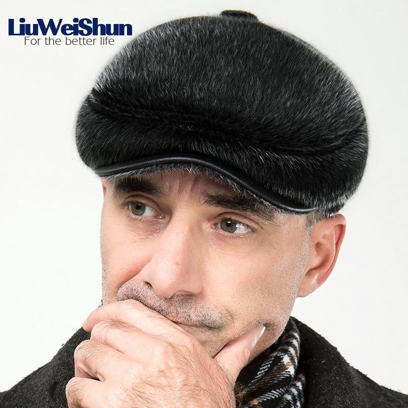 Classic Faux Fur Winter Berets Cap Hats Men Russia Newsboy Hat with Earflaps Retro Warm Duckbill Cap Visor Peaked Hat Flat cap